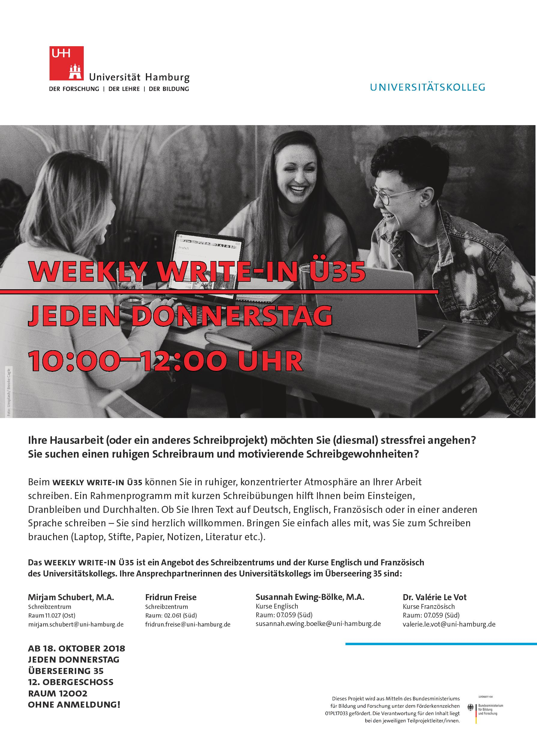 Poster for Weekly Write-In at Überseering 35