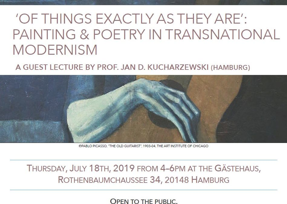 Guest Lecture: 'OF THINGS EXACTLY AS THEY ARE': PAINTING & POETRY IN TRANSNATIONAL MODERNISM